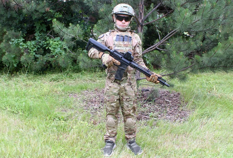 Boy Prepared For Airsoft